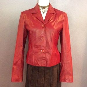 Red hot leather jacket. Very flattering